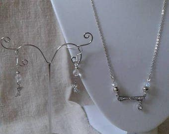 """bow tie silver and rhinestone"" set"