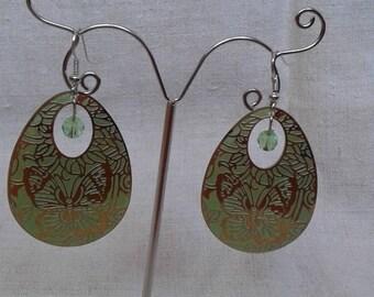 """""""flight of green butterflies"""" earrings"""