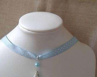 """Blue Ribbon and rhinestone drop"" Choker necklace"