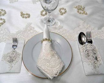 Wedding tablecloth Shower decoration Wedding gift France lace