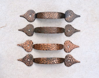 vintage Tudor reproduction copper over iron drawer pulls / hammered copper/iron drawer pulls - quantity available