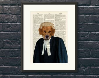 "Lawyer Beagle Art Print A4 Wall Art Lawyer Gift Reproduction Vintage Dictionary page background with the words ""Lawn"" and ""Lawyer"""