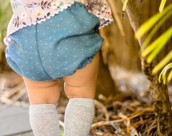 Handmade Baby Ruched Denim Bloomer Shorts