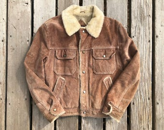 Vintage Sherpa Lined Leather Jacket Sz 40