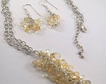 Citrine necklace, Citrine earrings, Citrine, Citrine jewellery, yellow gemstone jewellery, gemstone, Citrine nugget necklace and earring set