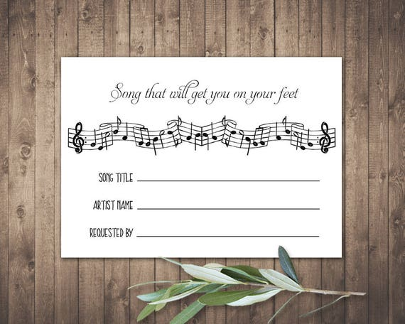 Song Request Card Wedding Printable Instant Download 5 X 35 Insert Cards For Weddings
