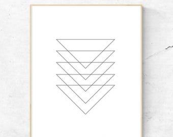 On Sale Geometric Triangles Black and White Modern Wall Art. - Digital Print, Instant Download - Home Decor, Wall Art, Print.
