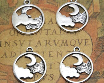 15pcs cloud and moon charm silver tone round cloud and moon charm pendant 20x23mm ASD2546