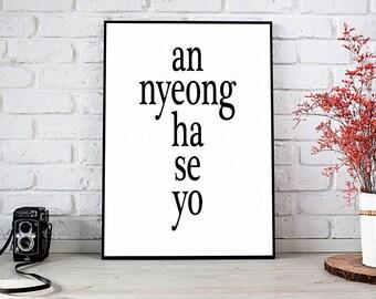 Annyeonghaseyo,Annyeong,Korea,Korean,Korean Baby,Printable Wall Art,Digital Download,Dorm Decor,Wall Decor,Home Decor,Best Selling Items
