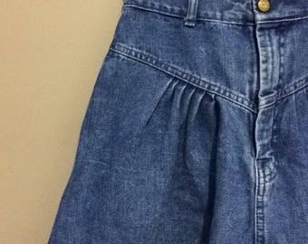 VINTAGE | 1990's Retro Denim Acid Wash Cow Girl Grunge Skirt | Size 12
