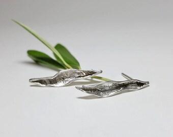 Leaf Earrings, Leaf Earrings Silver, Nature Earrings, Nature Inspired Earrings,  Minimalist Silver Earrings, Pure Silver Earrings Studs