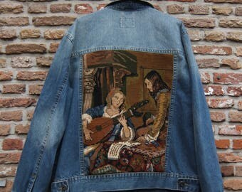 lute player embroidered-bygone glory denim jacket