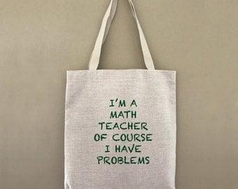 Custom Tote Bag Math Teacher Problems Customizable Personalized Gift For Her Gift For Him Mathematics Market Shopping Bulk
