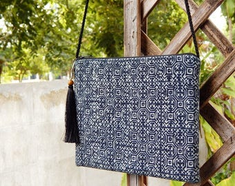 Handmade Bohemian Messenger and Cross Body Bag In Navy Blue Color in Thai...