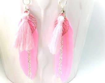 Earrings pink silver metal pen