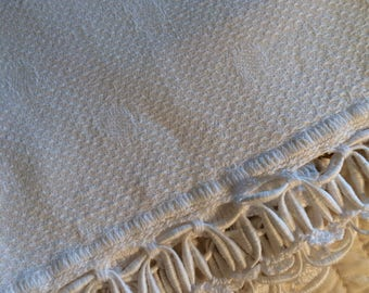 Vintage Damask Towel with Heavy Fringe Border