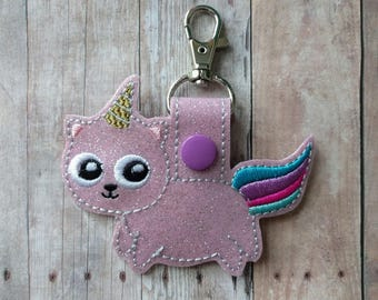 Unicorn Kitty Key Chain, Light Pink Sparkle Vinyl With Embroidery, Choice of Key Ring or Swivel Clip With Snap, Unicorn Cat Key Fob