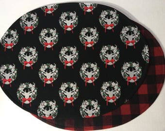 Christmas Table Runner Deer Head Reversible To Red And Black Buffalo Check  Flannel / 13 X