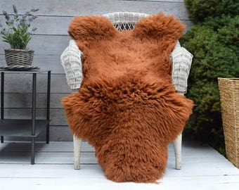 Luxury Sheepskin Rug, Throw, Blanket, Dyed Color Foxy, Ginger, Size XL