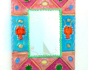 "painted mirror ""2 lobsters"" 17 X 21 cm, fuchsia and turquoise for the happy home decor"