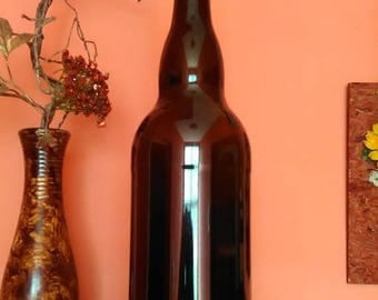 A giant bottle, brown glass, a bottle of 3 liters, a bottle of beer, a huge bottle, Vintage Glass,Kithcen Decor,Tightly closed cap with logo