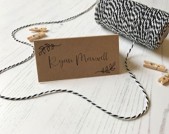 Recycled Kraft Place Cards - Rustic Wedding Name Cards  - Reception Table Decor