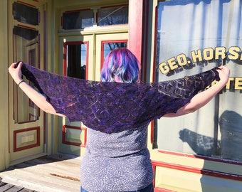 Geometric Purple Lace Shawl