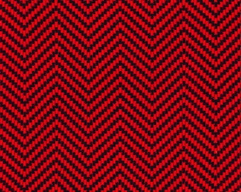 Red and black herringbone flannel patchwork fabric