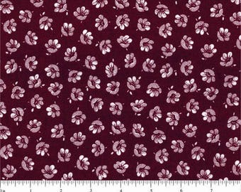 Burgundy flowers American patchwork fabric white