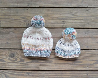Mommy and Me Hats, Matching Hats, Mommy and Baby Hats, Baby Beanies, Beanies, Pom Pom Beanies, Knit Toque, Knit Beanie, Winter Hats