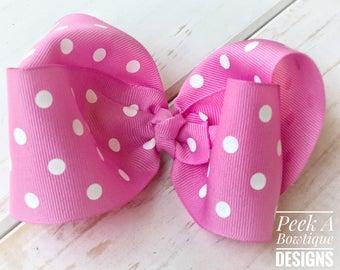 Pink Polka dot hair bow, pink hair bow, polka dot hair bow, summer hair bow