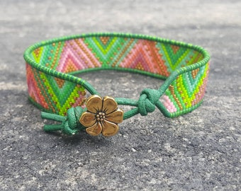 Hippie Bracelet - Beaded Bracelet - Leather Cuff Bracelet - Bohemian Bracelet - Gift for Her - Green Leather Bracelet - Colorful Jewelry