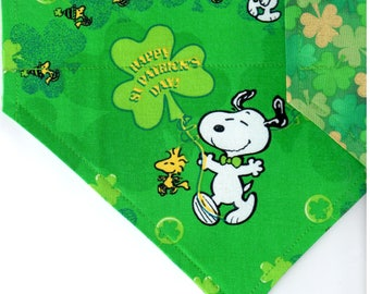 Peanuts St. Patrick's Day | St Patrick's Day Dog Bandana | Puppy Bandana | Pet Bandana | Over the Collar Bandana