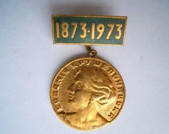 Pin badge Ukrainian. Metal enamel. Solomia Krushelnytska. Ukraine vintage. Made in Ukraine.