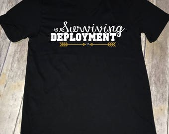 Surviving Deployment Army Wife Women's Unisex V-neck T-shirt