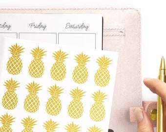 Foil Pineapple Stickers - Cute Gold Stickers - Pineapple Planner - Tropical Planner Stickers - Gold Summer Stickers - Rose Gold Stickers