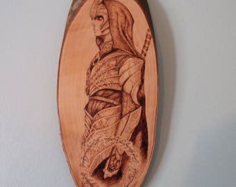 JRR Tolkien's the Lord of the Rings character, Elven Archer woodburning/pyrography home decor wall hanging plaque