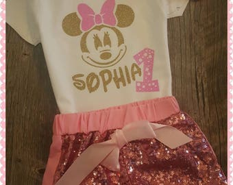 Minnie Mouse Birthday, Set, Sophia, Girls Birthday, Disney, Birthday Age 1-5 Years... Choice Of Colors