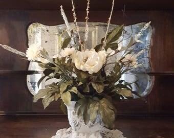 Floral arrangement, beige floral arrangement, floral centerpiece,  everyday floral arrangement,table arrangement floral arrangement for sale