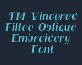 Vinograd - Filled Oblique Embroidery Font In FOUR Sizes 0.5, 1, 2 and 3 inch - Instant Download!