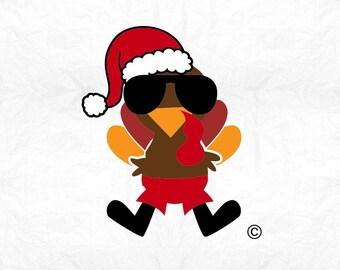 turkey santa sunglasses SVG Clipart Cut Files Silhouette Cameo Svg for Cricut and Vinyl File cutting Digital cuts file DXF Png Pdf Eps