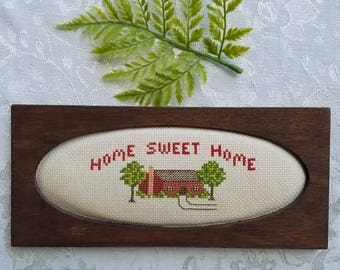 Home Sweet Home cross stitch, framed, needlework