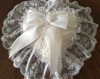 Victorian Heart Shaped Lace and Floral Ring Bearer Pillow