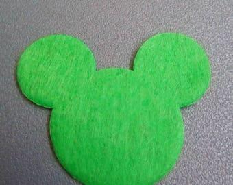 Mickey 30x35mm green felt applique