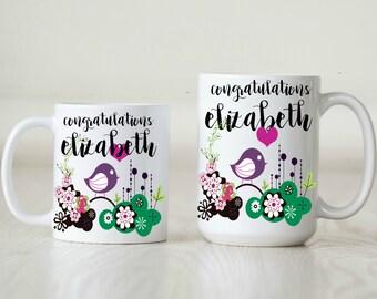 birthday gift for her birthday mug for her cute floral mug cute bird mug custom mug for mom gift for wife gift for granny gift for daughter