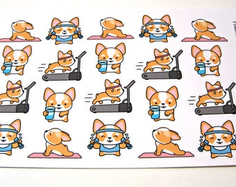 Corgi Stickers - Corgi Planner Stickers - Workout Stickers - Fitness Stickers - Healthy Corgis - Busy Corgis - Dog Stickers