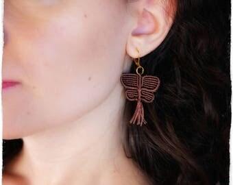Brown macramé Butterfly Earrings