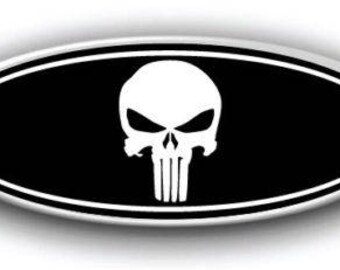 NEW Ford F150 2000-2017 Punisher Overlay Emblem Decal-Sticker Black & White Printed Vinyl Front, Rear, Steering Wheel