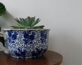 Porcelain chamber pot by Mintons of England. Very pretty thistle blue and white design.Planter,Bowl,Display for Succulents.