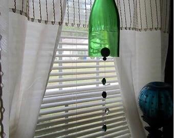 Glass Wine Bottle Wind Chime green